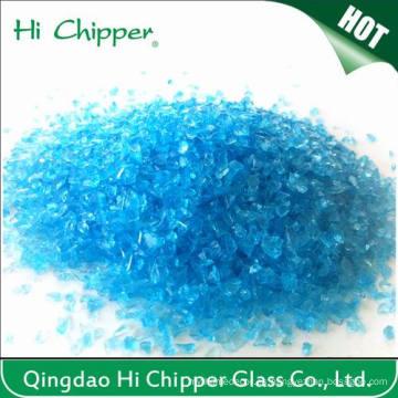 Chips de vidrio azul marino triturado