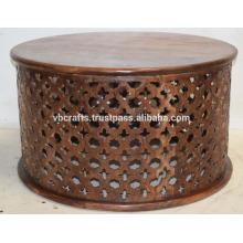 Madera de mango de madera étnica tallar mesa redonda