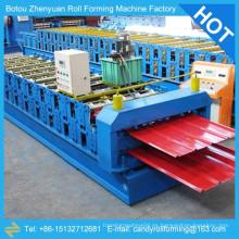 Rodillo de doble capa que forma la máquina, rodillo de perfil de acero que forma la máquina, rodillo de hoja de material de techo galvanizado que forma la máquina