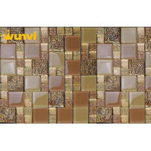 Restaurant Metal And Glass Chip Mosaic Floor Tile With Flow