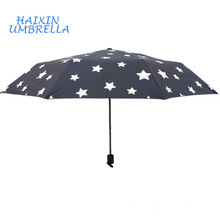Hot Star Design Windproof Waterproof Water Color Changing When Wet Portable Compact 3 Folding Black Umbrella From China Factory