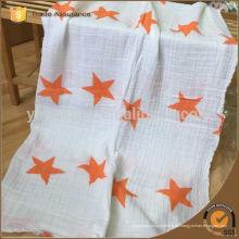 Tela estampada estrella de algodón muselina