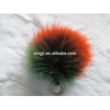 Porte-clés pompon en fourrure de raton laveur de couleur naturelle ou teint de qualité supérieure