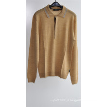 100% lã homens manga comprida camisola do pulôver da malha