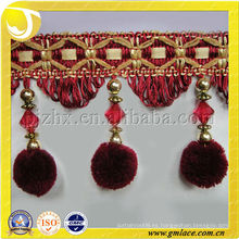 Franja de borla cortina con pom rojo