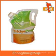 Guangzhou fabricante materiales laminados bolsa de líquido con caño
