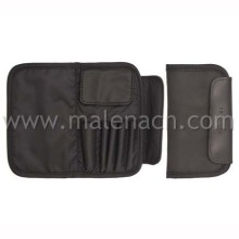 Black Leather Cosmetic Bag Makeup Pouch