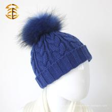 Fashion Winter Warm Lovely Fur Pompom Beanie Earflap Crianças Beanie Cap Kids Knit Hat