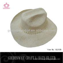 Vente en gros de nouveaux chapeaux de cow-boy en paille à la mode avec des perles