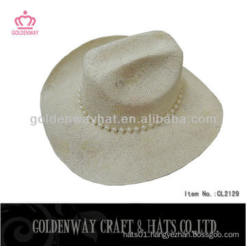 wholesale new fashion paper straw cowboy hats with beads