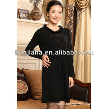 ladies' antipilling cashmere dresses with fur collar