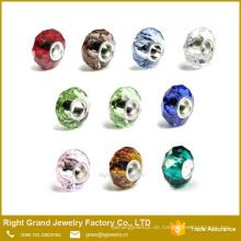 Großhandelsloch-Distanzscheiben-facettierte Glaskorne europäische Charme-Korne für Armband-Halskette
