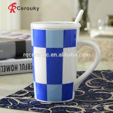 Taza de viaje con asa de cerámica taza con tapa y mango