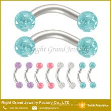 Jóia piercing do corpo curvo anel de sobrancelha barra de cristal