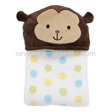 A toalha de banho encapuçado do bebê do macaco bonito, 75 * 100cm, 100% algodão, mantem o bebê morno e seco