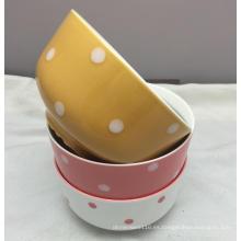 """Tazón de fuente de ensalada profunda de cerámica grabado en color de 5.5 """"para el uso en el hogar"""