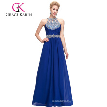 Grace Karin 2016 Full-Length Sleeveless Blue Chiffon Beaded Evening Dress GK000086-2