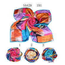 SA429 191 logo print silk scarf orange scarf 100% silk hijab shawl and scarvessupplier alibaba china