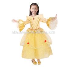 Belle princesa vestido cor amarela vestido menina princesa