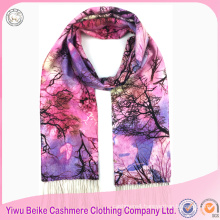 2017 new design Warm long style luxury digital printed 100% cashmere scarf