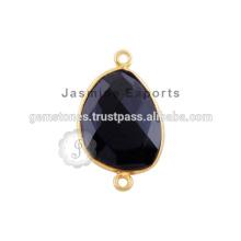 Natürlicher schwarzer Onyx Edelstein-Lünette-Verbindungsstück, handgemachte beste Qualitäts-Silber-Lünette-Verbindungsstück-Lieferanten