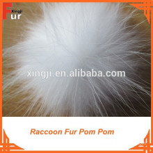 Smart White Raccoon Fur Pom Poms