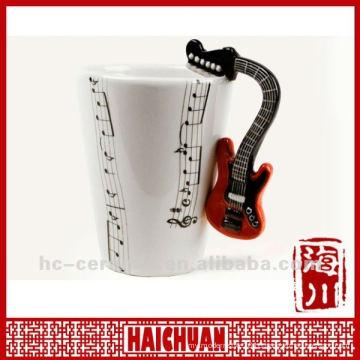 Ceramic guitar mug, music mug, music cup