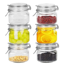 Empty 16oz Square Clear Airtight Glass Canister Mason Jar with clip lid for food storage