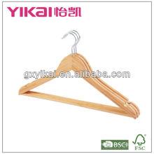 Fábricas de perchas de ropa en china, percha de bambú para Walmart suspensión