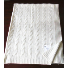 Кашемир трикотажные одеяло с кабелями Cth12001
