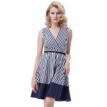 Belle Poque Stripe Patrón Stripped sin mangas con cuello en V A-Line Dress Vintage retro 50s BP000308-1