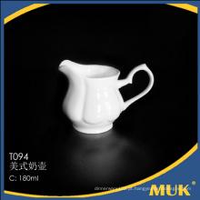 Boa qualidade estoque grosso louça de luxo pote de leite de porcelana branca