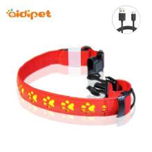 Couro de alta qualidade Led Glowing Up Dog Collar
