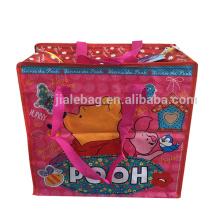 pp woven laminated zipper cartoon travel luggage bag