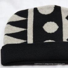 Bonnet personnalisé pom pom / 70% laine 30% bonnet cachemire / bonnet tricoté jacquard