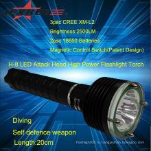 Фонарик привело аккумуляторная светодиодный фонарик Тактический дайвинг мощный светодиодный фонарик