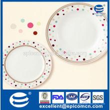 Plaque de décoration de points de couleur aux bonbons, plaques de céramique à usage quotidien de ménage en gros