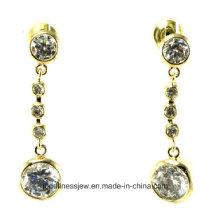 La venta caliente y la joyería de la manera venden al por mayor la plata blanca de la piedra del Zirconia cúbico plateada los pendientes de gota románticos E6345