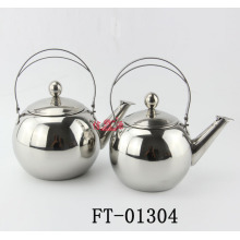 3PC Stainless Steel Round Steel Handle Tea Pot (FT-01304)