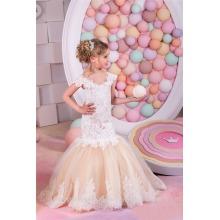 Alibaba Custom made Latest Children design Beauty Pageant Birthday Lace Mermaid Flower Girl Dresses LF45