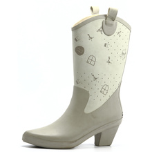 Women High Heel Pointed Rubber Rain Boots