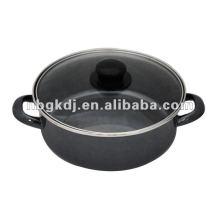 enamel stock pot with bakelite knob and mirror polish