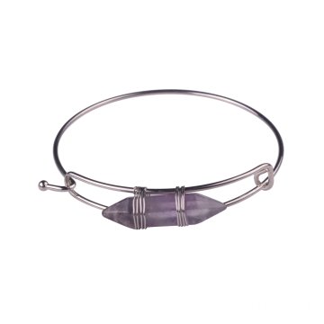 Hexagon Prism Amethyst Natural Gems Bracelet Bangle