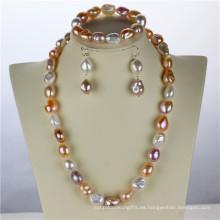 Snh 12mm AA mezcla de color de agua dulce de la boda real conjunto de perlas