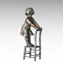 Kinderfigur Statue Stuhl Mädchen Kind Bronze Skulptur TPE-886