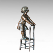 Niños Figura Estatua Silla Chica Niño Escultura De Bronce TPE-886