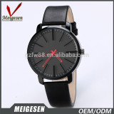 leather band mans watch super thin case men custom design watch