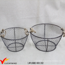 Industrial Vintage Style Interior Carry Round Metal Basket with Handle