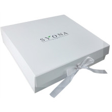 Luxury white gift packaging box with ribbon