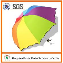 Bestseller 2017 Publicidad doblada Big Rainbow Dome Pongee Paraguas Zhejiang